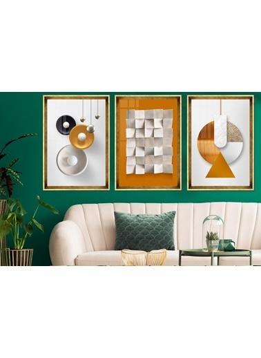 Çerçeve Home  Orange Love Gold Çerçeve Tablo Seti Altın